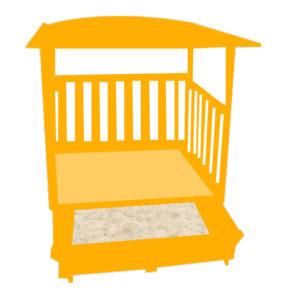 Sandkasten mit Spielhaus
