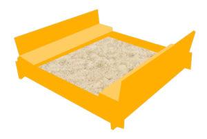 Praktischer Sandkasten mit Dach - eine ausklappbare Sandbox